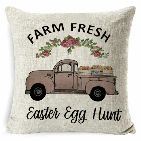 Truck Pillow Cover Easter Sofa Cushion Cotton Linen Cover USA SELLER $12.95