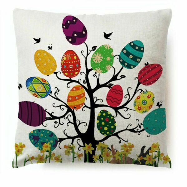 Easter Tree Pillow Cover Sofa Cushion Cotton Linen Cover USA SELLER $12.95