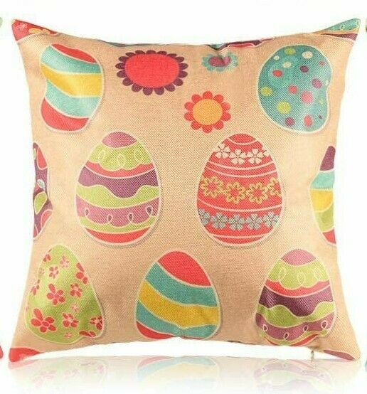 Easter Pillow Cover Sofa Cushion Cotton Linen Cover Easter Eggs USA SELLER $12.95