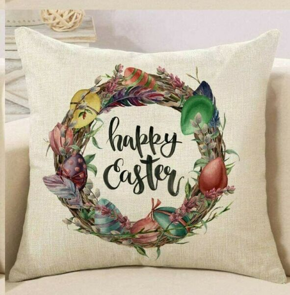 Happy Easter Wreath Pillow Cover Sofa Cushion Cotton Linen Cover USA SELLER $12.95
