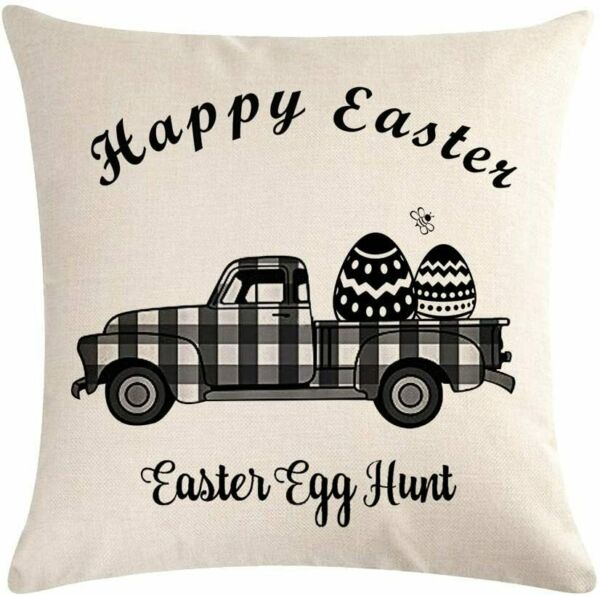 Truck Easter Pillow Cover Cotton Linen Cover Black Buffalo Print USA SELLER $12.95