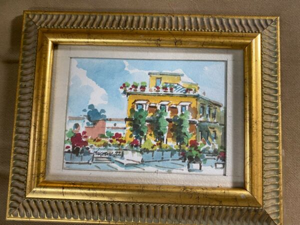 Small 1999 quot;Patio And Villa Scenequot; Watercolor Painting Signed And Framed $46.88