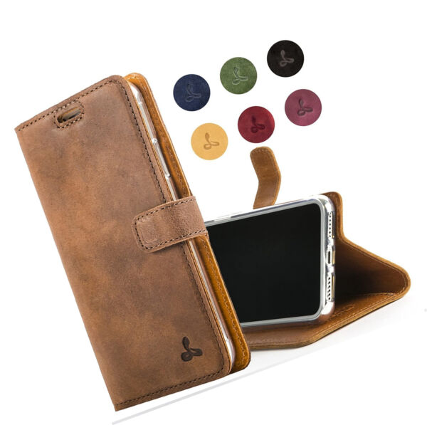 For Apple iPhone Xs Max Case  Genuine Leather Wallet with Viewing Stand