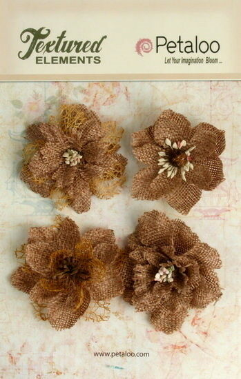 Burlap Textured Flowers 4x NATURAL Approx 55 60mmAcross Varied Centres Petaloo E