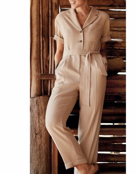 NEXT SIZE 12 EMMA WILLIS COLLECTION Camel BEIGE TAPERED LEG Utility JUMPSUIT