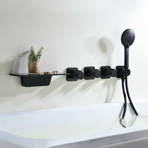 Concealed Black 3 Handles Brass Bathtub Mixer Tap with Handshower Head Swivel