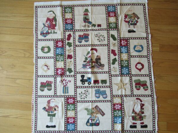 Fabric Here Comes Santa for Northcott panel flannel snowflakes mittens cotton $2.00