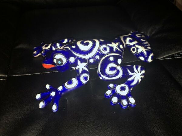 "Mexican Talavera Frog 9""x 11quot; Wall hanging for garden shed NEW Blue Frog Spring"