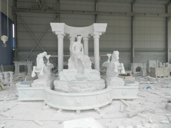 MONUMENTAL HAND CARVED MARBLE FIGURATIVE ESTATE GARDEN FOUNTAIN - LJF1