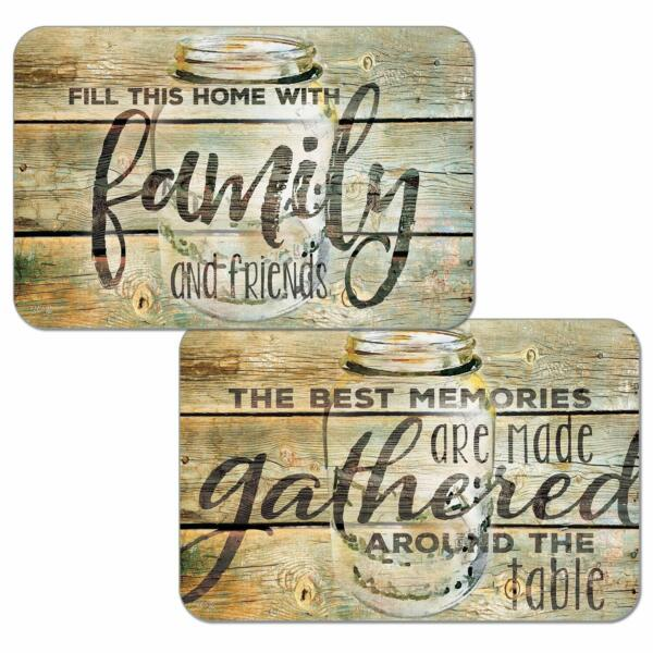 4 Reversible CounterArt Country Rustic Family Friends Plastic Mat Placemats Tan