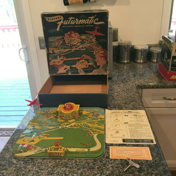 AUTOMATIC TOY CO. CLOCKWORK NO.1300 FUTURMATIC AIRPORT. COMPLETE amp; WORKING W BOX $299.00