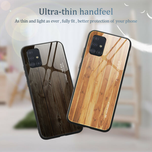 Fashion Wood Glass Back Phone Case Cover For Samsung Galaxy A20 A30 A50 A51 A71 $8.99