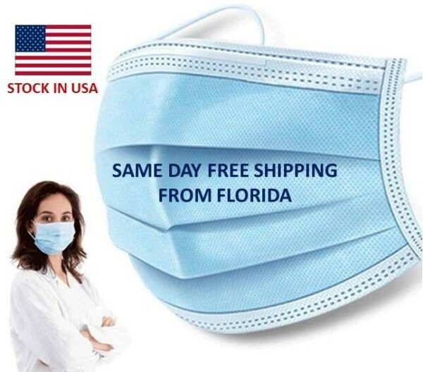 50 PCS Face Mask Medical Quality Surgical Dental Disposable 3 Ply Earloop $9.99