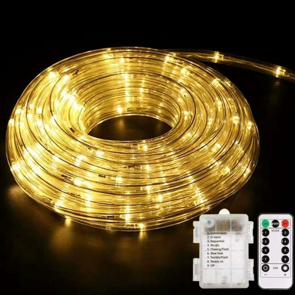 LED Rope Lights Battery Operated String 40Ft 8 Modes Outdoor Warm White L6+