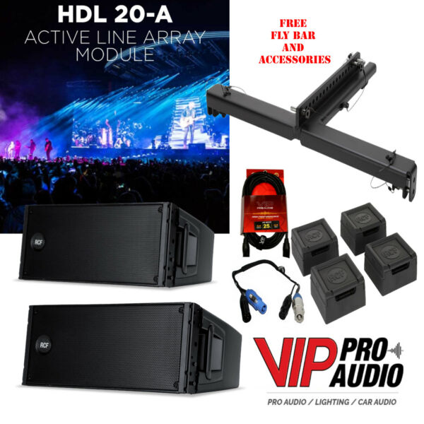 2x RCF HDL20-A BEST Active Line Array Module 1400W w Light FlyBar