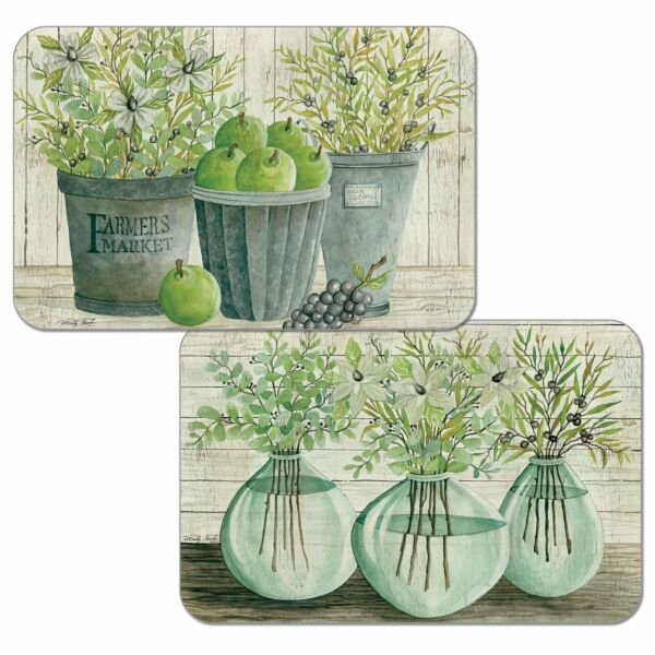 4 Reversible Farmer's Country Green Apple Pail Plastic Mats Placemats Green Gray