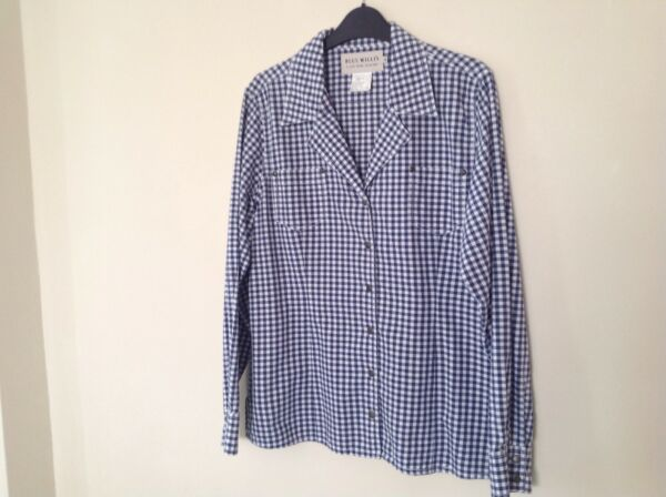 Blue Willis Xl Long Sleeved Blue Chek Button Front Blouse (1618)