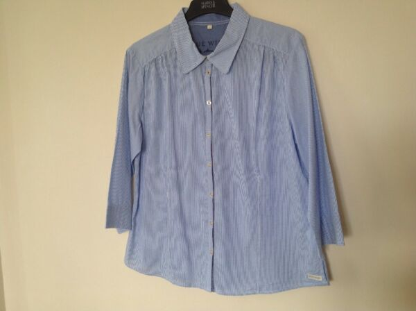 Blue Willis Size46 Blue White Striped 34 Sleeve Top