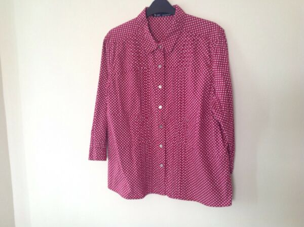 Blue Willis Xxl (18) Red And White Spotted Button Front Blouse With 34 Sleeve