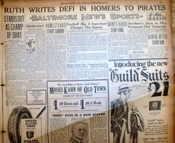 1927 Baltimore MD newspaper BABE RUTH setting HOME RUN RECORD for single season