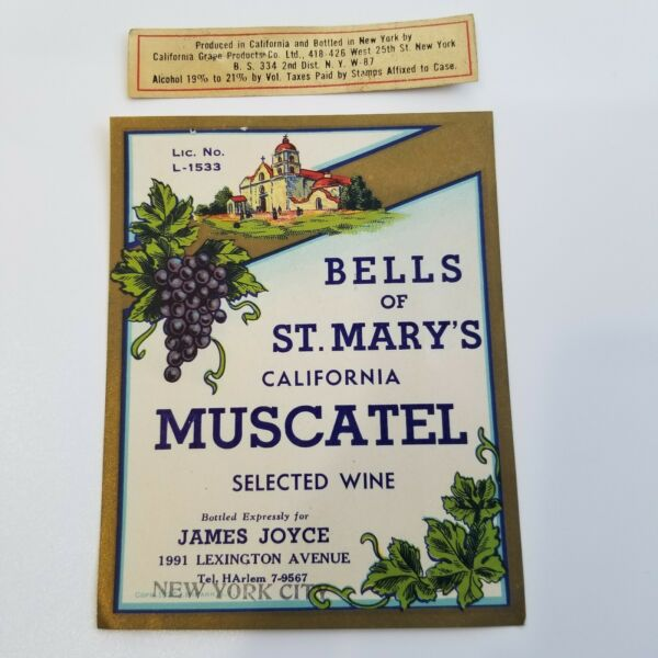 Vintage BELLS of ST. MARY'S California Muscatel Wine Label 30s James Joyce NY