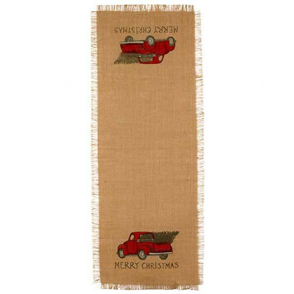 36 Inch Red Truck Christmas Burlap Runner