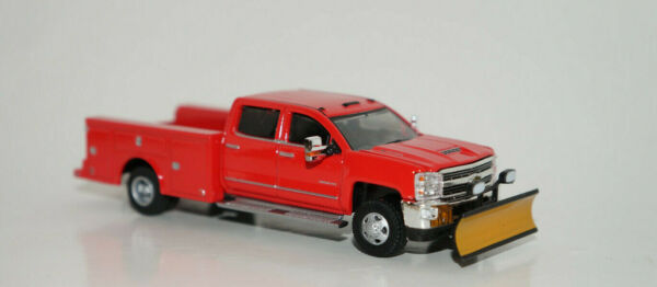 red snow plow 2018 chevy silverado 3500 hd dually truck 164 diecast GREENLIGHT