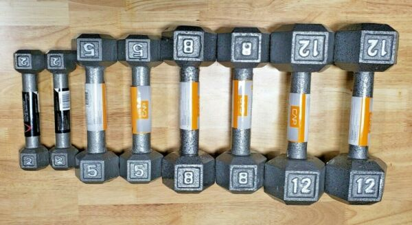 CAP Cast Iron Hex Dumbbell (Pair) - Select Weight 2lb 5lb 8lb 12lb