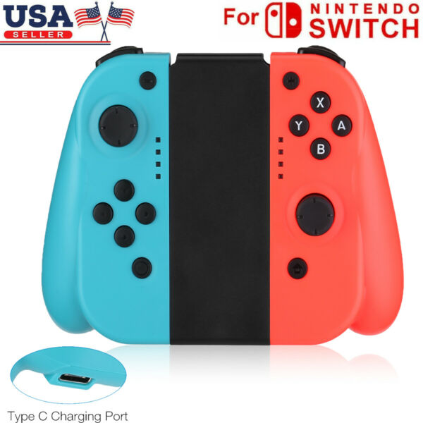 For Nintendo Switch (LR) Wireless Bluetooth Controllers - BlueRed US FREE