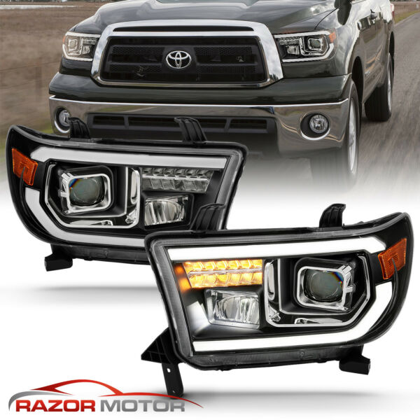 For 2007-2014 Toyota TundraSequoia Square Projector Black Headlights