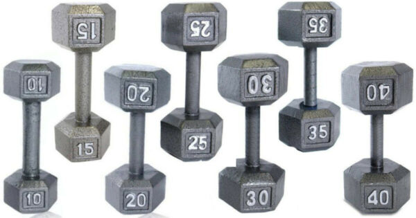 CAP IRON HEX DUMBBELL WEIGHTS 12LB 15LB 20LB 25LB 30LB PAIRS BARBELL FITNESS GYM