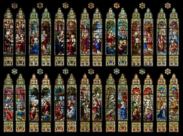 Large Set of 14 Gothic German Mayer of Munich Church Stained Glass Window Set $160000.00