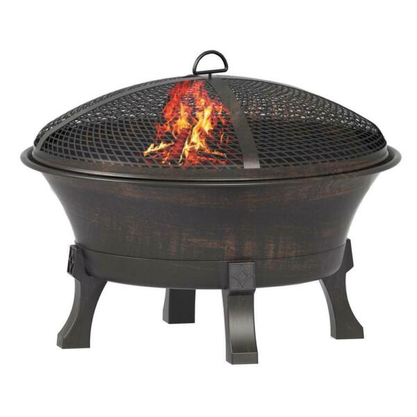 Hampton Bay Fire Pit Del Oro Deep Bowl Wood Grate Cover Durable Cast Iron 26 in.