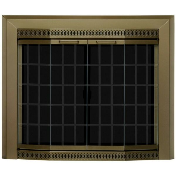 Fireplace Doors Large Glass Bronze Tempered Clear Glass Classic Surface Mount