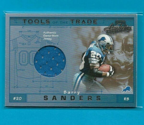 BARRY SANDERS 2001 Playoff Absolute AUTHENTIC GAME-WORN JERSEY #d 106300 Lions