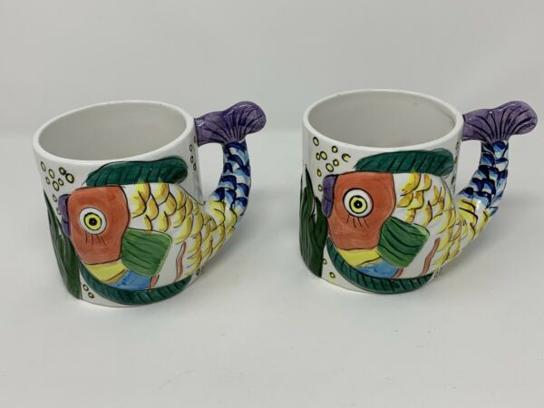 *Pen Pencil Holders* Pescada Mug 3D Ceramic Fish Cup Tabletops Hand Painted 1995