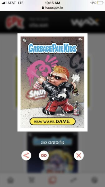 2020 Topps Wax Digital Garbage Pail Kids 1st Series BASE #30A New Wave Dave