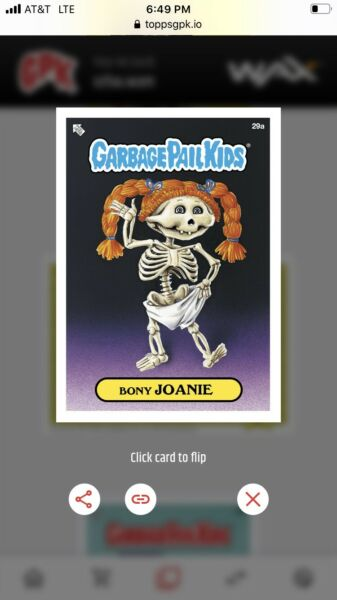 2020 Topps Wax Digital Garbage Pail Kids 1st Series BASE #29A Bony Joanie