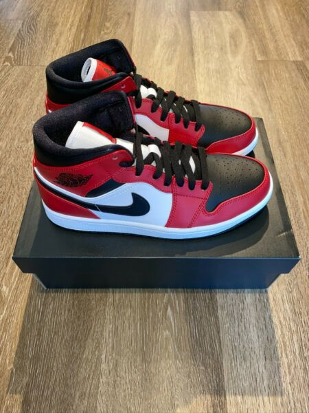 Jordan 1 Mid Chicago Toe Black Red 554724-069 New 100% Authentic SHIPS TODAY