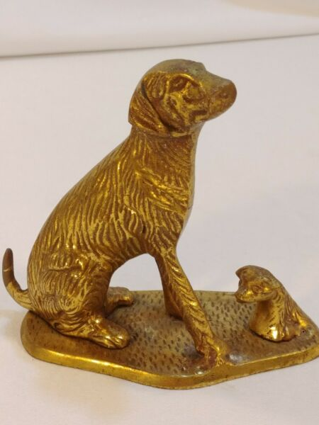Gold Tone Metal DOG FIGURE 5quot; Brass Statue Mother and Baby Puppy Figurine LOOK $49.92