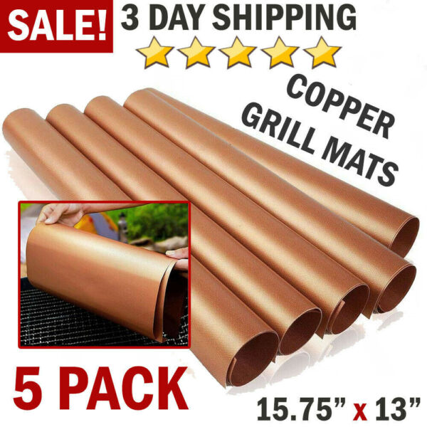 5 PCS Non Stick BBQ Grill Mats Reusable Baking Pads Cooking Liners Barbecue Tool
