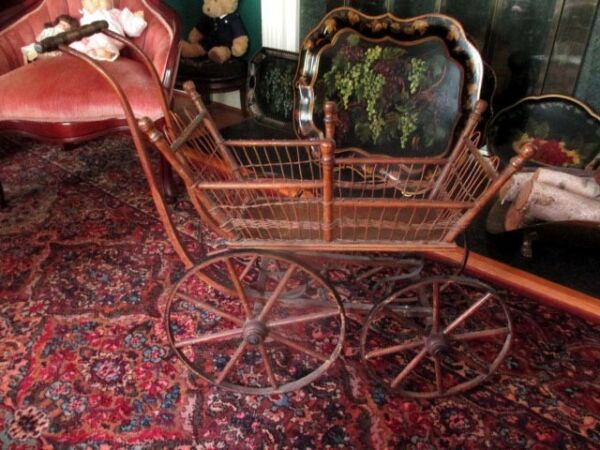 ANTIQUE VINTAGE WOODEN WICKER DOLL BUGGY CARRIAGE  GREAT DISPLAY PIECE FOR DOLLS