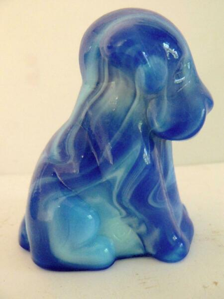 "DEGENHART 3"" GLASS POOCH DOG FIGURINE D HEART DARK BLUE SLAG #10 $7.95"