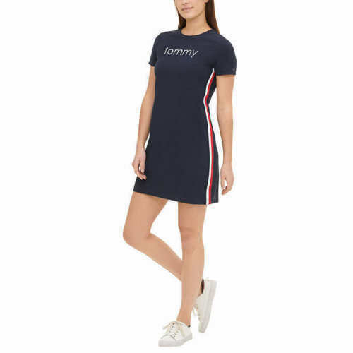 Tommy Hilfiger Women#x27;s Tee Dress S M L XL BLUE RED AUTHENTIC NICE $29.55