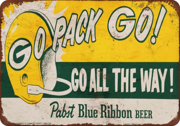 1961 Packers and Pabst Blue Ribbon Vintage Look Reproduction Metal Sign 8 x 12
