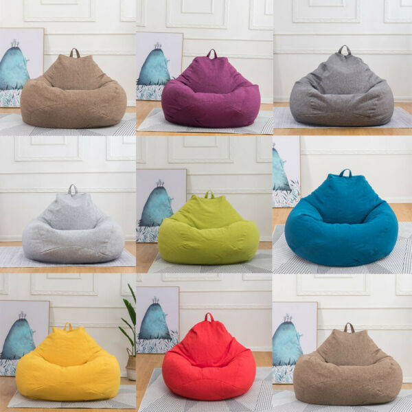 Lazy Beanless Bean Bag Sofa Cover Cotton Linen Couch Cover Footstools Lounger $41.99