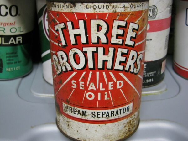 Vintage One Quart Oil Cans Man Cave Collection Three Brothers