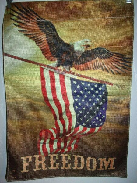 Freedom Eagle Garden Flag 12quot;x18quot; Burlap Like Double Thickness Two Sided