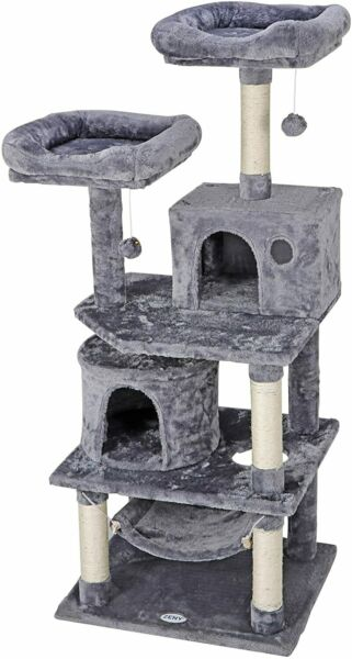 Pet Furniture Activity Tower 57quot; Cat Tree Condo Play House with Perches Hammock $64.99