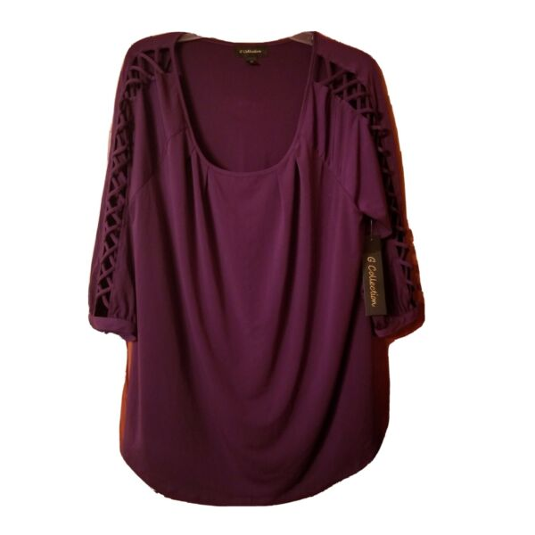 Purple plum with Criss Cross down the Sleeve.Women 2X by G Collection